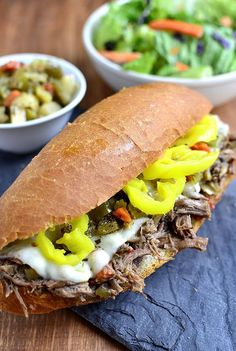 Crock Pot Italian Beef Sandwiches are a 5-ingredient version of the popular hot sandwich recipe! | iowagirleats.com