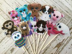 12 BEANIE BOOS Cupcake y Cake Toppers Partido por TheTopperShoppe