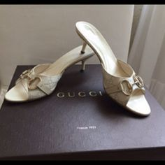 """AUTHENTIC GUCCI SHOES Cream color. Gold hardware. 2.5"""" heel. Very gently used, normal wear.. very good condition. . True to size. No box/dust bags. Reasonable offers only please. NO TRADES Gucci Shoes"""