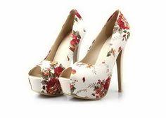 Floral Print Peep Toe Shoes