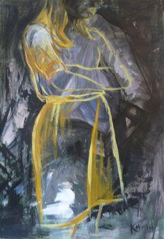 Mietteliäs, akryyli, 70x100 cm (Katja Hynninen, 2014)