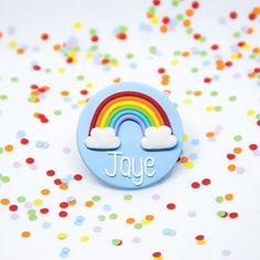 This cute rainbow name badge will bring a splash of colour to your day! You can choose: Name Background Colour Glaze Type The badge measures about cm in diameter. Rainbow Names, Cute Names, Name Badges, Air Dry Clay, Clay Crafts, Colorful Pictures, Color Splash, Colorful Backgrounds, Bunny