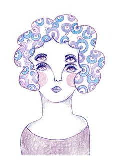 alternative quirky drawings illustrated simple lady prints eye