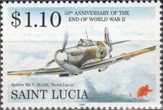 Sello: Spitfire (Santa Lucía) (End of WWII 50th Anniversary) Mi:LC 1031,Sn:LC 1021