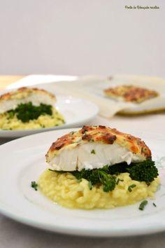 Bacalhau fresco com queijo e ervas em risotto de limão - http://gostinhos.com/bacalhau-fresco-com-queijo-e-ervas-em-risotto-de-limao/