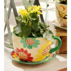 Bright Blossoms Teacup Planter | Kirkland's #Outdoors #Entertaining #TeaCup