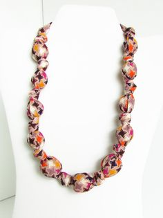 Tan Orange and Purple Beaded Nursing Necklace Fabric by RubyRebels, $11.99