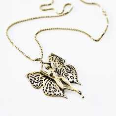 On a whim body butterfly  brass pendant necklace by BISJOUX, $80.00