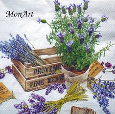 Paper Napkins Box French Lavender Flavour of Provence IHR Ideal Home Range Vintage Diy, Decoupage Vintage, Decoupage Paper, Shabby Vintage, Vintage Images, Shabby Flowers, Lavender Flowers, Lavander, Flower Images