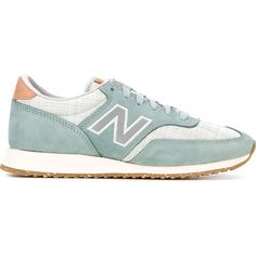 New Balance Panelled Sneakers ($142) ❤ liked on Polyvore featuring shoes, sneakers, blue, new balance trainers, new balance footwear, new balance, blue shoes and blue sneakers