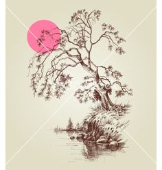 A tree by the lake or river and a pink full moon vector image on VectorStock Moon Vector, Vector Art, Moon Sketches, Full Moon, Adobe Illustrator, Diagram, River, Map, Drawings