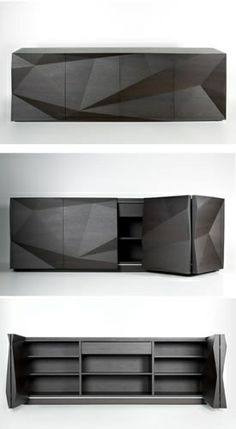 Modern Faceted Geometric Black Storage Cabinet, Source unknown.
