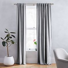 Luster Velvet Curtain, Dusty Blush, At West Elm - Solid Curtains - Window Treatments Curtains Living Room, Curtains Bedroom, Blackout Panels, Velvet Curtains, Curtains, Panel Curtains, Solid Curtains, West Elm, Blackout Curtains