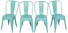 Buy Merax Solid Metal Bar Dining Chairs Steel Back Chairs, Antique Blue, Set of 4 - Topvintagestyle.com ✓ FREE DELIVERY possible on eligible purchases