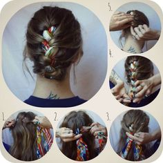 Easy Hair :: Braid scarf into French braid. Leave end out or tuck into top.