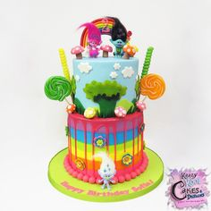 """265 Likes, 7 Comments - Laura E Varela-Wong (@krazykoolcakes) on Instagram: """"We LOVE making Trolls birthday cakes! 😃 Check out this SUPER FUN cake we made over the weekend!…"""""""