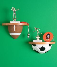 These shelves are on the ball!   Sports Ball Shelves mount easily to a wall to create a unique showcase for their sports achievements.  Select from Football, So