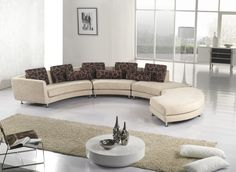curved unique sectional sofas in modern living room ideas plus long beige rug plus round coffee table and white floor lam Round Sectional, Beige Sectional, Fabric Sectional, Leather Sectional Sofas, Beige Sofa, Leather Sofa, Corner Sectional Sofa, Sofa Set, Furniture