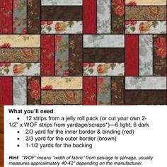 """PDF Pattern for the """"Double Chocolate"""" Rail Fence Lap Quilt (or Baby Quilt) 38 x Jellyroll Quilts, Lap Quilts, Strip Quilts, Patch Quilt, Quilt Blocks, Scrappy Quilts, Flannel Quilts, Pink Quilts, Quilt Kits"""