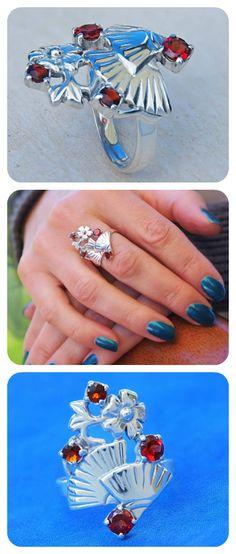 Statement Ring | 925 Sterling Silver & Natural Garnet Gemstone