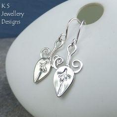 Sterling Silver Flower Bud Earrings - Handmade Metalwork Swirls Flowers Leaves £24.00