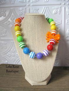 "Bubblegum Necklace, ""Rainbow Kiss"", Toddler Necklace, Rainbow Theme, Rainbow Necklace, Chunky Bead Necklace, Toddler Necklace, Girl Necklace. $17.99, via Etsy."
