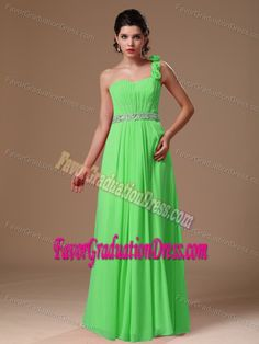 Buy best seller one shoulder spring green chiffon long prom dress with flowers from lovely prom dresses shop, one shoulder neckline empire spring green prom dress,cheap floor length prom formal evening homecoming graduation dress with zipper back and . 8th Grade Prom Dresses, Grad Dresses, Cheap Prom Dresses, Flower Dresses, Evening Dresses, Middle School Graduation Dresses, Social Dresses, Cocktail Dress Prom, Prom Dress Shopping
