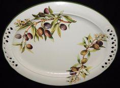 "Brunelli Large Oval Serving Platter BNL1 OLIVES Multi-motif Fruit Dinnerware Italy Near Mint Condition 17"" in diameter by libertyhallgirl on Etsy $49.99"