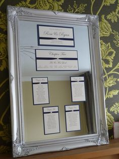 Framed Mirror Table Plan - stunning large silver frame.  Ideal for a formal Wedding Breakfast