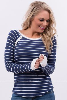 All the Stripes Long Sleeve Top in Navy