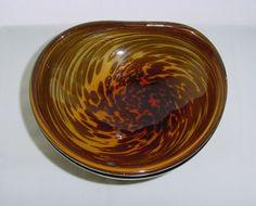 Incredible MURANO Glass BOWL Mesmerizing WHIRLING Bronze SPOTS Vintage has NICKS