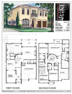 2 Story House Plan, Residential Floor Plans, Family Home Blueprints, D - Preston Wood & Associates plans 2 story Floor Plans 2 Story, House Plans 2 Story, Family House Plans, 2 Story Houses, Bedroom House Plans, House Floor Plans, Building Plans, Building Design, Building A House