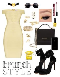 """""""#BrunchGoals"""" by badgalstylee ❤ liked on Polyvore featuring Hervé Léger, Givenchy, Kenneth Jay Lane, Rosantica, J.W. Anderson, Henri Bendel, Sydney Evan, Noir Jewelry, Schield Collection and OPI"""
