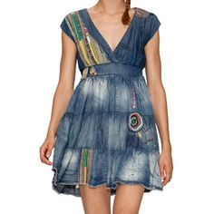 Vuelo Patch Dress Denim, $72, now featured on Fab.