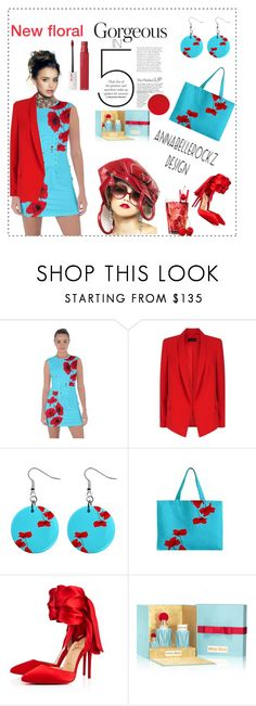 """""""New floral design"""" by annabellerockz ❤ liked on Polyvore featuring ESCADA, Christian Louboutin, Miu Miu, Maybelline, outfit and floraldress"""