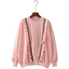 Women Flouncing Stitching Long Sleeve O Nekc Casual Sweatshirt ($25) ❤ liked on Polyvore featuring tops, hoodies, sweatshirts, pink, collar top, pink sweatshirts, frill top, cotton sweatshirts and collared sweatshirt
