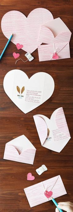Cute! An envelope and card in one! The Pink Stripe Love Letter is a stationery set that comes with everything you need for 2 letters! Write a lovely message to a special someone on the inside of the heart shaped card then fold it into an envelope and seal
