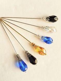 Large Crystal Teardrop Hat Pin/Hijab Pin by CrystalArtPins on Etsy