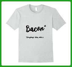 Mens Everything is better with Bacon Small Heather Grey - Food and drink shirts (*Amazon Partner-Link)