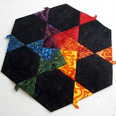 hexagon puzzle - wow, what a neat block! kites and equilateral triangles in matched pairs, with black hexagons