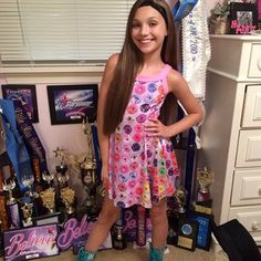 """There is no denying that she is one talented dancer, as she's won basically every dance competition that exists. Here she is with so many dance trophies she literally keeps them on the floor like the humble QUEEN she is.   16 Reasons """"Dance Moms'"""" Maddie Ziegler Slays"""