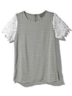 Stripe/Lace Tee Product Image
