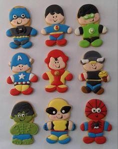 Gourmet Cookies, Fun Cookies, Sugar Cookies, Decorated Cookies, Superhero Cookies, Superhero Party, Cookie Games, Sugar Cookie Royal Icing, Sugar Flowers