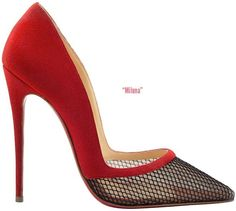 Christian Louboutin 'Miluna' Red  Black Mesh Pumps Fall 2014 #CL #Louboutins #Heels