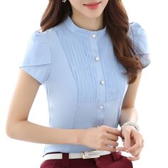 2017 Spring new women clothing long sleeve shirt OL elegant bow tie Formal chiffon blouse office ladies plus size work wear tops Blouse Styles, Blouse Designs, Chic Outfits, Pretty Outfits, Outfit Trends, Moda Fashion, Corsage, Plus Size Tops, Dress Patterns