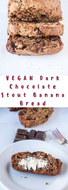 Vegan banana bread gets a boozy spin and studded with dark chocolate!