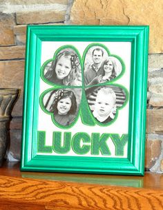 Create a lucky photo frame for St. Patrick's Day that includes portraits of your family