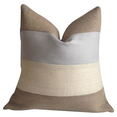 Bring a neutral touch to your bed or favorite reading nook with this eco-friendly burlap and cotton pillow, featuring a feather-down fill and color-blocked d...
