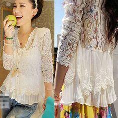 Womens Crochet Lace Floral Long Sleeve Chiffon Shirt Top Blouse Button Cardigan
