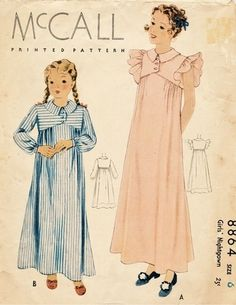 McCall Pattern 8864 Vintage 30's Girls Nightgown - Interesting Shape - - Two Versions! Size 6